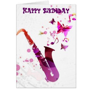 Gullig musik för saxofon och fjärilsfödelsedag hälsnings kort