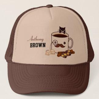 Gullig mustaschkaffekopp och katt - personlig truckerkeps