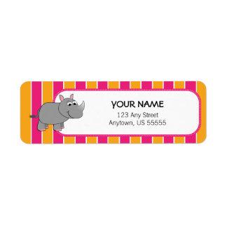 Gullig noshörning på rosa- och orangerandar returadress etikett