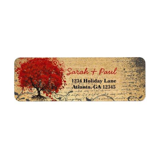 Gullig nyckfull hjärta blad träd som den röda returadress etikett