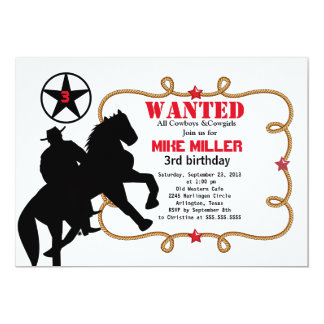Gullig önskad western Cowboyinbjudan 12,7 X 17,8 Cm Inbjudningskort