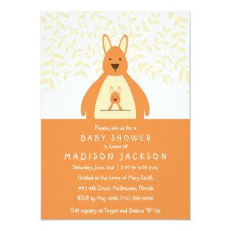 Gullig orange för kängurubaby showerinbjudan | 12,7 x 17,8 cm inbjudningskort
