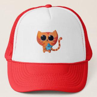 Gullig orange katt med stjärnan truckerkeps