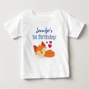 Gullig orange räv för första födelsedag med t shirt