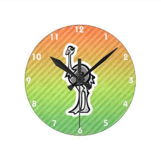 Gullig Ostrichdesign Rund Klocka