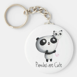 Gullig Panda med ballongen Rund Nyckelring