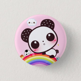 Gullig panda med kawaiimat på regnbågen mini knapp rund 3.2 cm