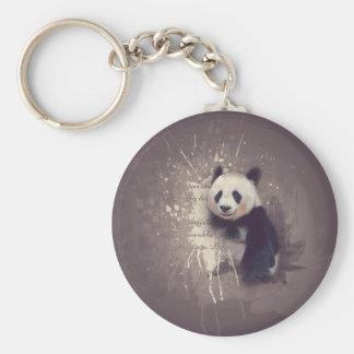 Gullig Pandaabstrakt Rund Nyckelring