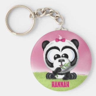 Gullig Pandapersonlig Keychain Rund Nyckelring