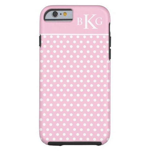 Gullig pastellfärgad rosa Monogram för vitpolka Tough iPhone 6 Case