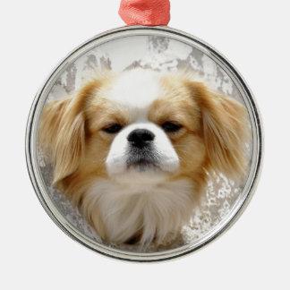 Gullig Pekingese hund Julgransprydnad Metall