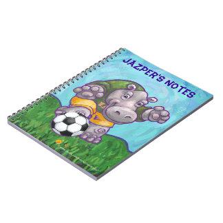 Gullig personlig för flodhästfotbollstjärna anteckningsbok