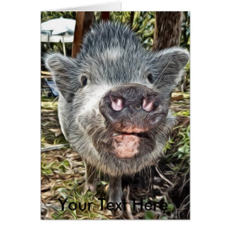 Gullig personlig målad mini- gris hälsningskort