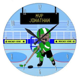 Gullig personligishockeystjärna stor rund klocka