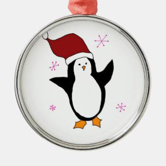 Gullig pingvin julgransprydnad metall