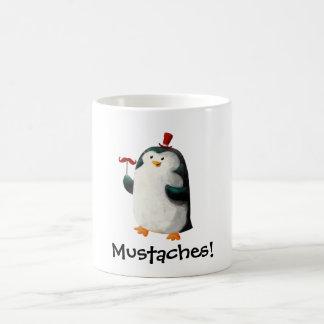 Gullig pingvin med mustascher mugg