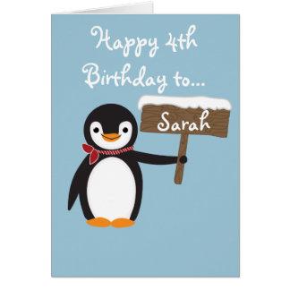 Gullig pingvin som ha på sig Scarfdesign Hälsningskort