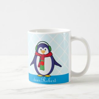 Gullig pingvinjul med ditt namn kaffemugg