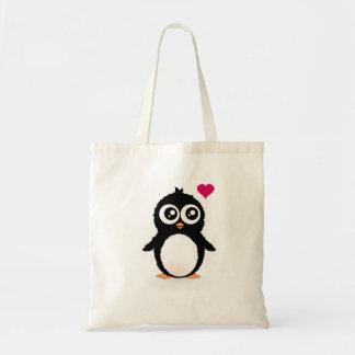 Gullig pingvintecknad budget tygkasse