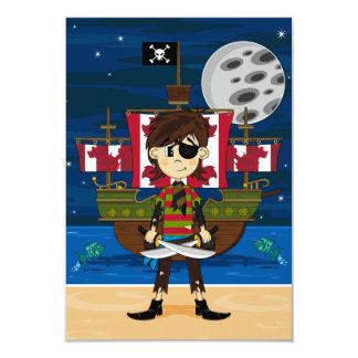 Gullig pirat- och fraktOSA kort 8,9 X 12,7 Cm Inbjudningskort