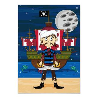 Gullig pirat- och fraktplatsOSA kort 8,9 X 12,7 Cm Inbjudningskort