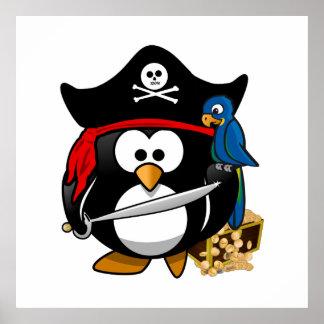 Gullig piratpingvin med skattbröstkorgen poster