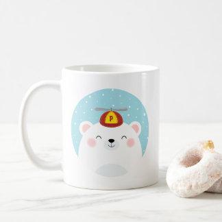 Gullig polar björn med ditt barn som är initialt vit mugg