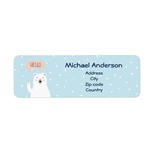 Gullig polar björn Pesonailzed Returadress Etikett