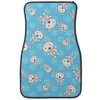 Gullig polar björnblåttsnöflingor bilmatta