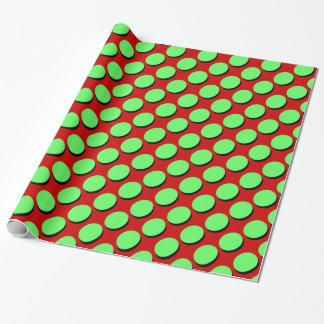 Gullig polka dots, Shaowed limefrukt på rött, Presentpapper