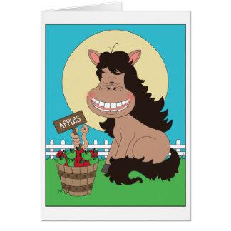 Gullig ponnytecknad hälsningskort