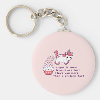 Gullig Pooping Unicorn Rund Nyckelring