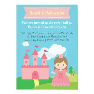 Gullig Princess och slott, flickafödelsedagsfest 11,4 X 15,9 Cm Inbjudningskort