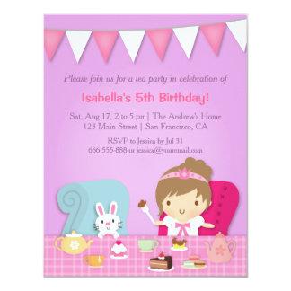Gullig Princess Tea Festa Födelsedag Inbjudan