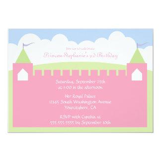 Gullig princessslottfödelsedagsfest inbjudan