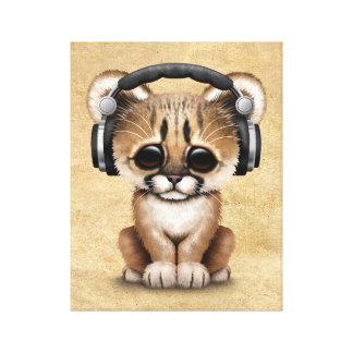 Gullig pumaunge Dj som ha på sig hörlurar Canvastryck