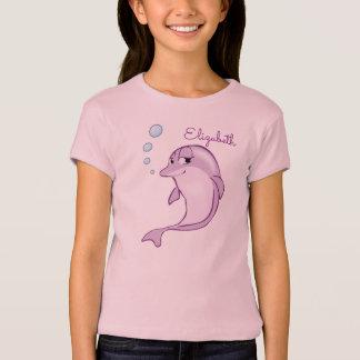 Gullig purpurfärgad delfinpersonlig t shirts