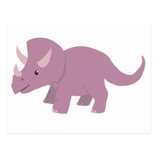 Gullig purpurfärgad Triceratops Vykort