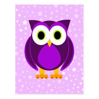 Gullig purpurfärgad uggla vykort