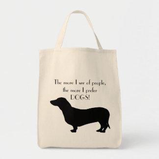 Gullig quotation för silhouette för taxhundsvart tygkasse