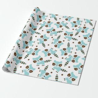 Gullig Raccoon som slår in papper Presentpapper