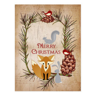 Gullig räv- och skogsmarkdjurgod jul vykort