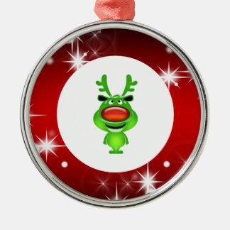 Gullig ren rund silverfärgad julgransprydnad