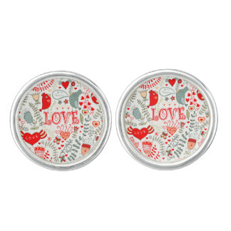 Gullig Retro blom- illustrationvalentinesdesign Cufflinks