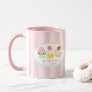 Gullig Retro söt muffins för bageriCafe Mugg