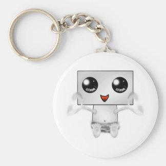 Gullig robot rund nyckelring