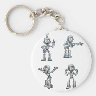 Gullig robotmaskot för tecknad rund nyckelring