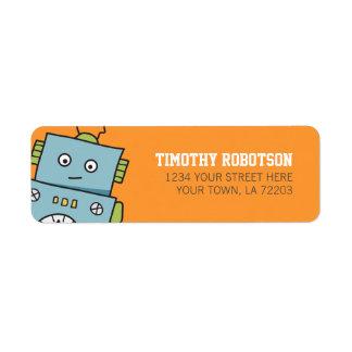 Gullig robotreturetiketter returadress etikett
