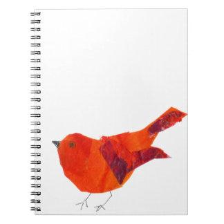 Gullig röd fågel anteckningsbok med spiral