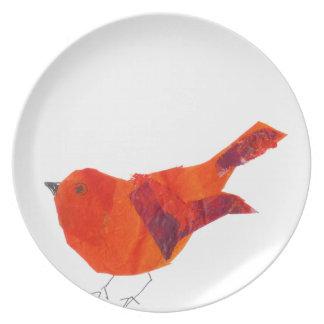Gullig röd fågel tallrik